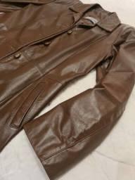 Lindo casaco de couro natural marrom GG
