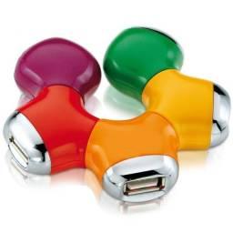 Adaptador HUB usb 2.0 4 portas flexível colorido