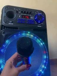 Caixa de Som Amplificada 5000W Bluetooth Microfone S/ fio e Controle Remoto<br>
