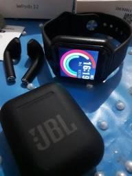 Kit fone jbl+ Smartwatch y68.novo.
