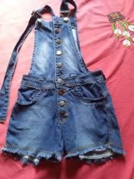 Macacão Short Jeans Jardineira