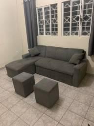Título do anúncio: Sofá chaise + Puffs + Almofadas