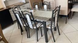 Mesa mármore 6 cadeiras