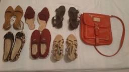 Calçados femininos e bolsa