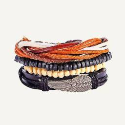 Pulseira regulável de couro e pulseiras combo 4 peças