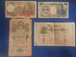 Cedulas Marco Alemão,Yen, Franco Frances e Pye Russia 1909- Cedulas Originais