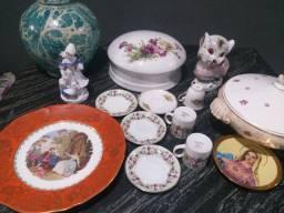 Porcelanas Relíquias. Prato de Colônia Alemã, Xícaras, Potes, Estátua e Abajur