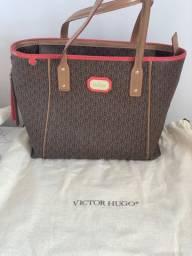 Bolsa Victor Hugo Marrom com detalhe laranja