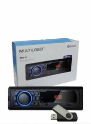 Som Mp3 Player 1din Usb Radio Multilaser Fm Bluetooth Carro