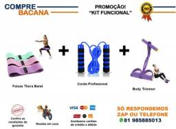 Kit Corda profissional + Faixas thera band + Elástico Trimmer body