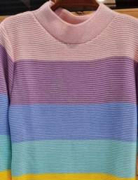 Blusa tricô arco íris