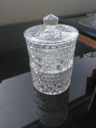 Bomboniere alto luxo cristal antiga 2 compartimentos