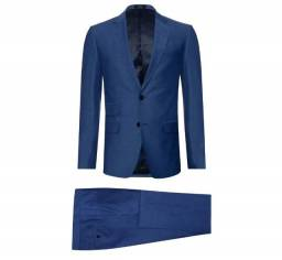 Terno Aramis -  modelo costume poliviscose super slim liso azul