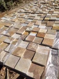 Revestimento em Pedra Caramelo Quartzito 10x10cm Teladas Promoção DoMeuGosto