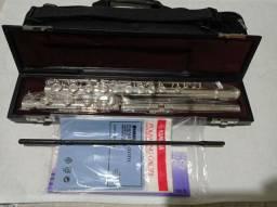 Flauta transversal yamaha 481h prata maciça