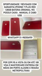 MUNDICELL / SEMINOVO / IPHONE 7 PLUS 128GB LACRADO ANATEL DESBLOQUEADO GARANTIA