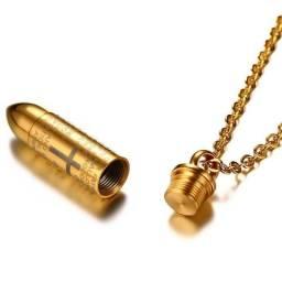 Colar Importado Vnox Pingente de Bala com pai nosso Banhado a Ouro 18k com garantia