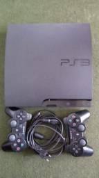 Console PS3 travado 2 controles 5 jogos