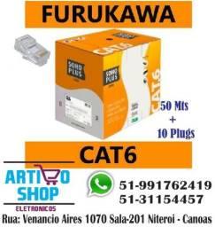 Cabo Furukawa Cat6 50 Mts + Plugs Rj45 Internet