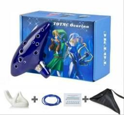 Flauta Ocarina + Suporte Mão + Bolsa - The Legend Of Zelda