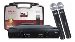 Microfone Sem Fio Duplo MXT, Modelo UHF 302