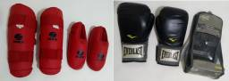 Caneleira Mks Combat c Protecao Pé, M+ Luva de Boxe pro style 14oz - preta - everlast