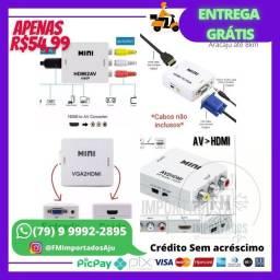 Conversor adaptador HDMI VGA AV RCA. ENTREGA GRÁTIS AJU