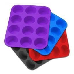 Forma de silicone para cupcakes 12 cavidades