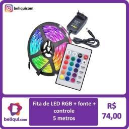 Título do anúncio: Fita de LED colorida com controle e fonte   Temos também com luz branca  