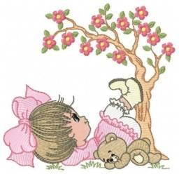 matriz de bordado - menina embaixo da árvore