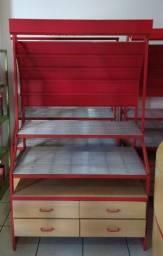 Expositor de alumínio com gaveteiro de madeira para coleção