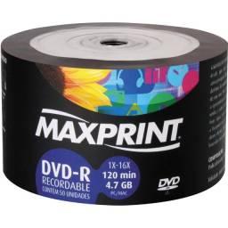 50 Midia Dvd-r Virgem Maxprint Original Com Logo 16x 4.7gb Lacrado.   45.00