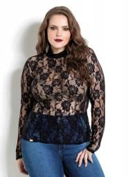 Blusa em Renda Preta Quintess Plus Size - Tamanho 54 (NOVO)
