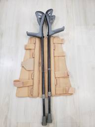 Par de Muletas canadense + Imobilizador de perna
