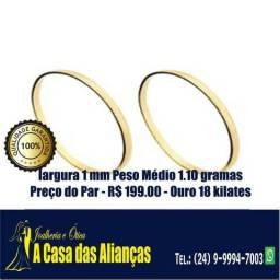 Par de alianças em ouro 18 Kilates - 1 mm