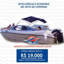 Cota 25% Lancha Fs 210 Cabinada motor 150hp