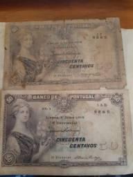 2 cédulas raras de Portugal, de 50 Centavos de 1918