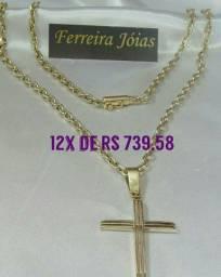 Título do anúncio: Corrente maciça elo cadeado cartier com pingente crucifixo em ouro 18k