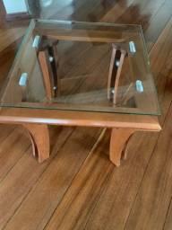 Mesa de centro em madeira vidro temperado