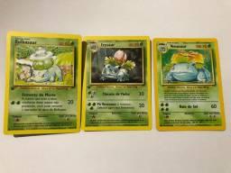 Pokemon cards: Venusaur, Ivysaur e Bulbasaur da base set