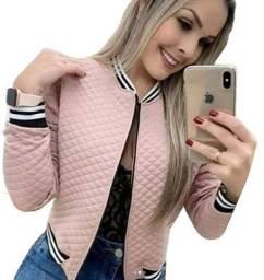 Jaqueta Meatalassê Longa Bomber Blusa Feminina com Ziper