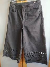 Calça Pantacourt Jeans Preta Bo.Bô Tam 40