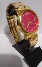Relógio feminino CK Calvin Klein ouro mostrador moderno A prova D'água Pulseira aço inox