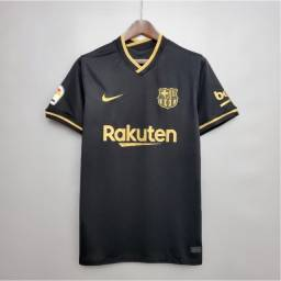 Camisa de time de futebol Barcelona preta aceito cartão leia