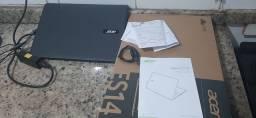 Notebook acer na caixa,pouco uso.