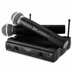 Kit Microfone Sem Fio Duplo Weisre no PGX-51 UHF Profissional Bivolt 110 ou 220v
