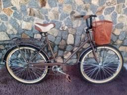 Bicicleta Tipo Ceci - Retrô  Feminina Cesta Marrom Plast