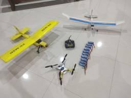 Aeromodelo 2 aviões um Drone um controle Turnigy 9x e 10 baterias