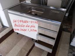 Pia e balcão de pia 1,20m com tampo de inox/NOVO