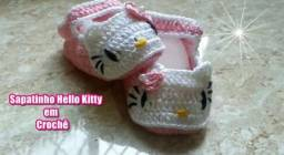 Sandália Hello Kitty em Crochê